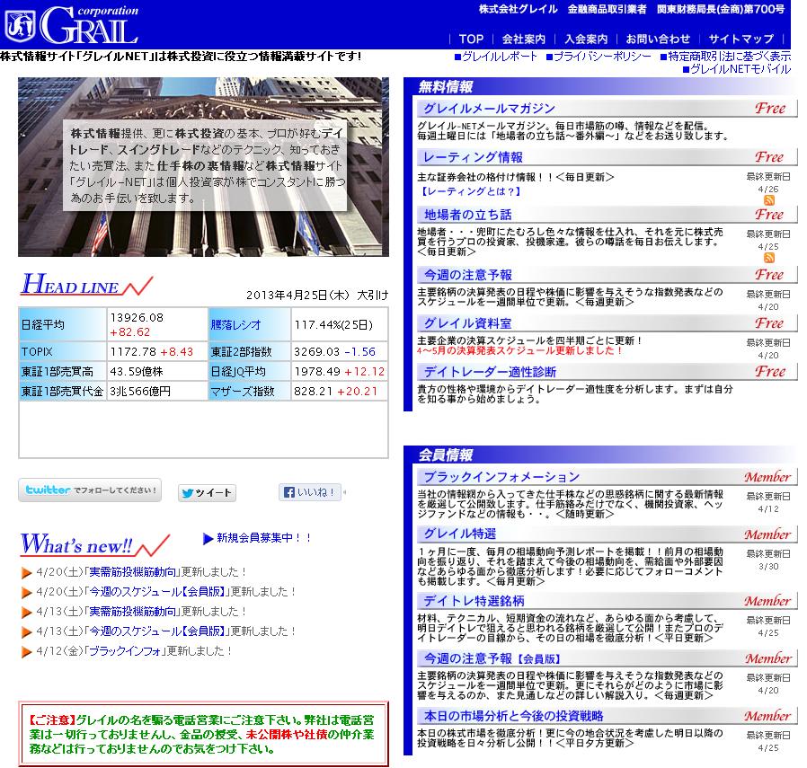 株式情報サイト グレイルNET
